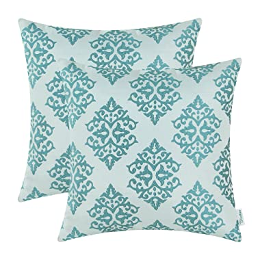 CaliTime Pack of 2 Soft Jacquard Throw Pillow Covers Cases Couch Sofa Home Decoration Vintage Damask Floral 18 X 18 inches Teal