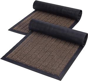 Lifewit 2 Pack Indoor Mat Door Mat Heavy Duty Non Slip Rubber Backing Doormat Entrance Low-Profile Rug Trap Dirt for Front Door, Entry, Garage, Patio, High Traffic Areas, 29.5×16.9 in, Brown
