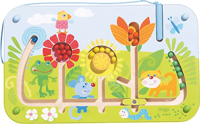 HABA Flower Maze Magnetic Game - STEM Approved Fosters Motor Skills and Assignment of Color Ages 2+