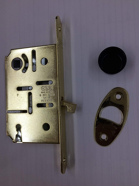 per porte scorrevoli interne. quadro 8 mm.-chiave finitura OTTONE LUCIDO VERNICIATO Serratura da infilare AGB SCIVOLAT frontale 16 mm entrata 50 mm