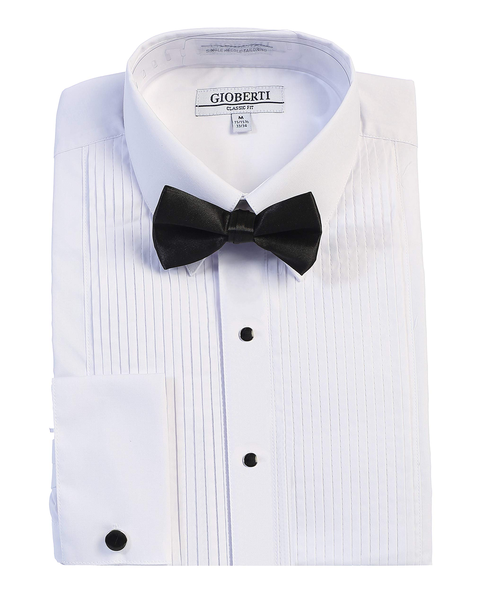 Gioberti Men's Kent Lay Down Collar Tuxedo Dress Shirt with Bow Tie, White, X-Large (36/37) by Gioberti