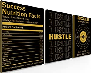 Motivational Wall Art - Inspirational Wall Art - Black Office 3 Panel Frame Wall Decor Art Canvas for Men, Women, Teenager, Kids - Fitness Gym Work Positive Affirmation Posters Quotes - Hustle Nutrition Success - 12 x 16 inch