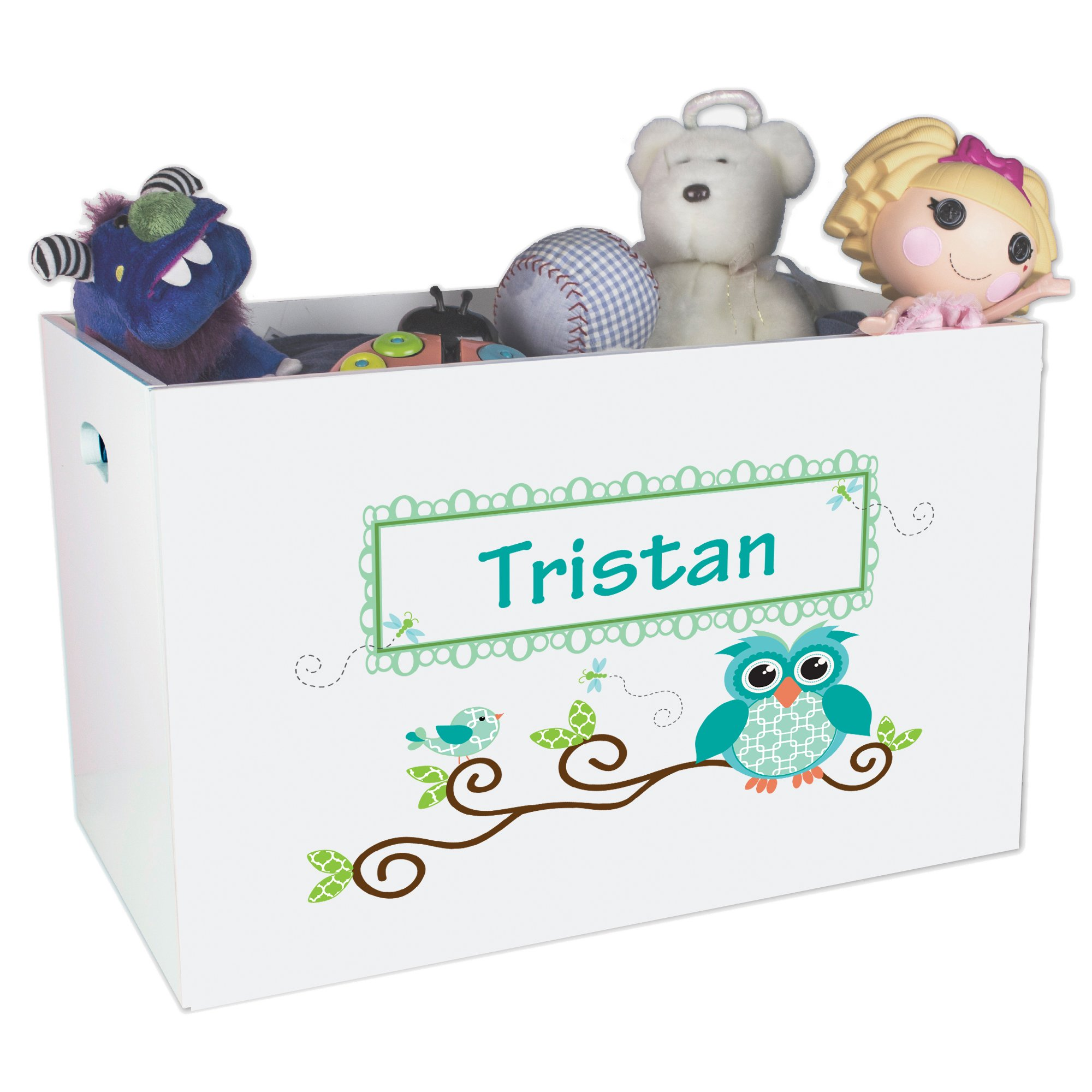 Personalized Gingham Owl Childrens Nursery White Open Toy Box