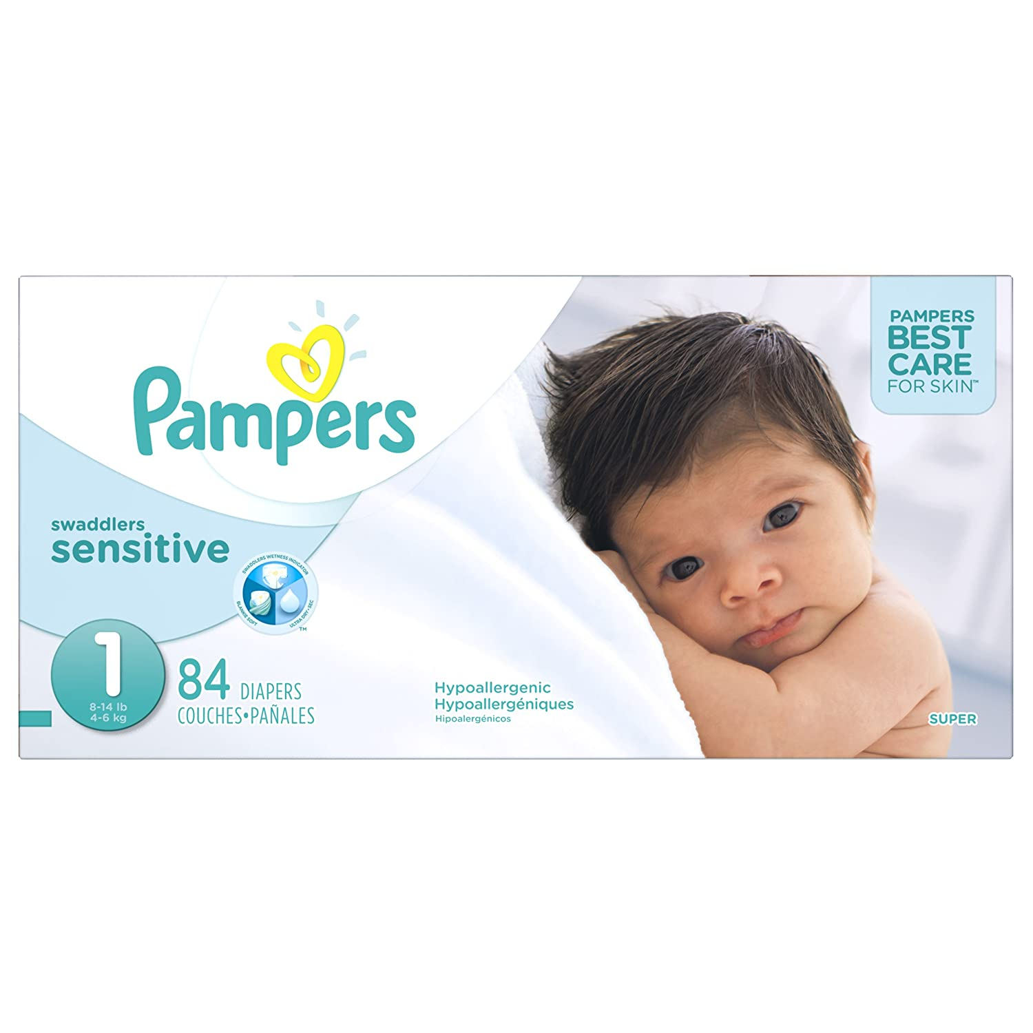 Pampers Swaddlers Sensitive Disposable Diapers Newborn Size 1 (8 14 Lb), 84 Count, Super by Pampers