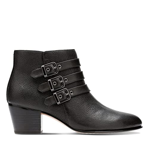 eb1dc2269d2 Clarks Womens Maypearl Rayna Black Leather Low Heel Ankle Boots D ...