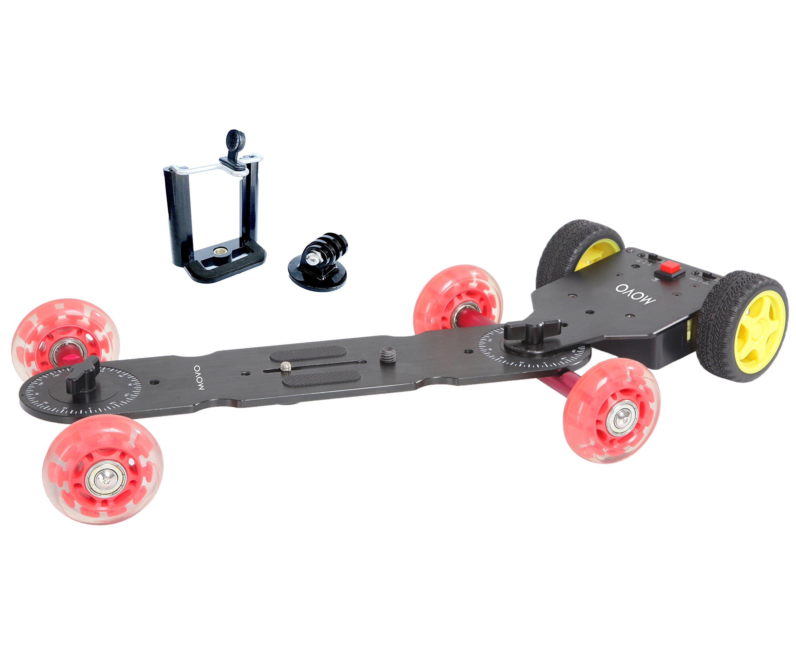 Movo Motorized Cine Skater Table Dolly Video Track Glider Bundle for DSLR Cameras, GoPro, iPhone, Android Smartphones (Long Version)