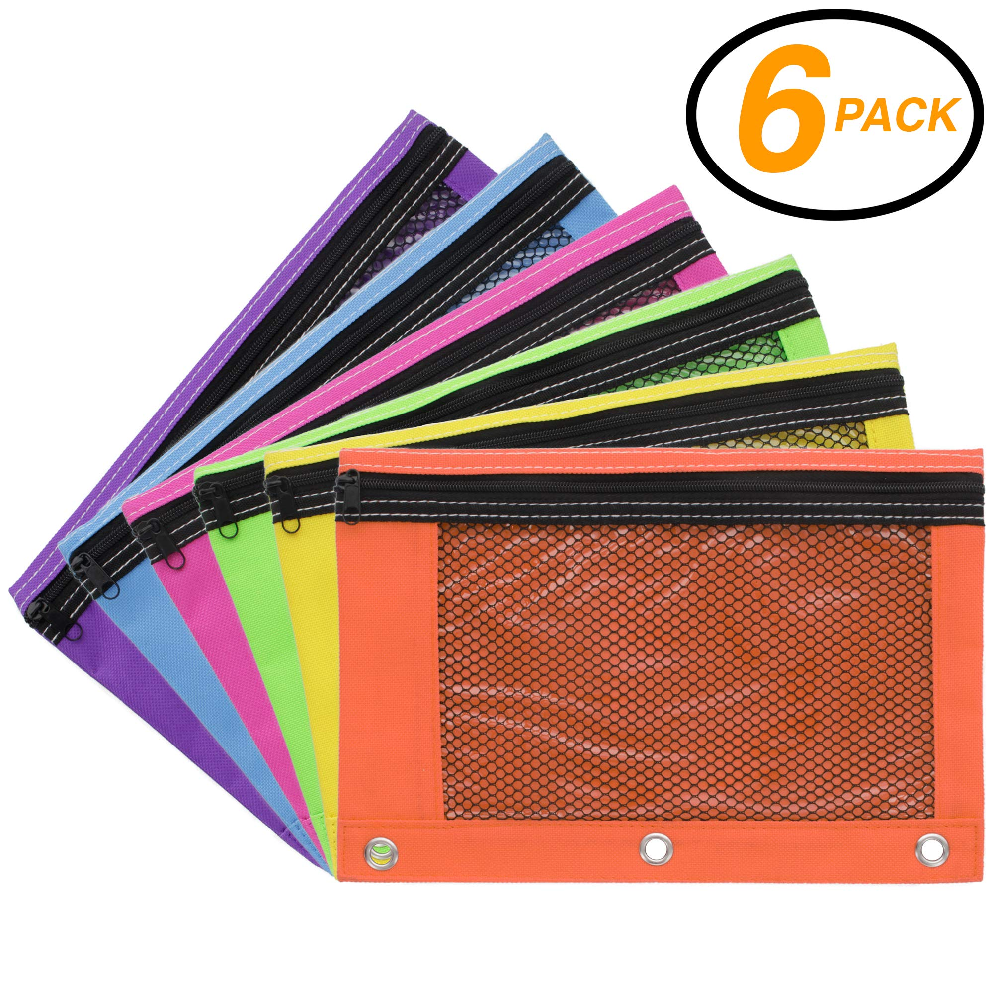 Emraw 3-Ring Pencil Pouches - Bright Color Pencil Pouch with Zipper Pockets for 3-Ring Binder Pen Holder Case, Cute pencil bags with zipper for Girls and Boys (6-Pack)