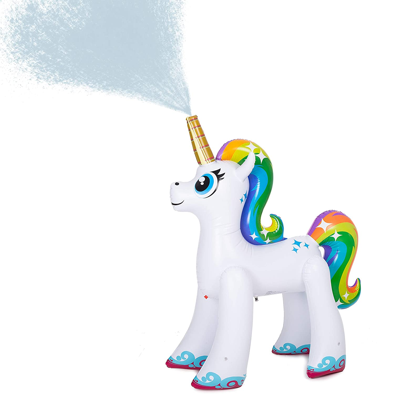 JOYIN Inflatable Unicorn Yard Sprinkler Lawn Sprinkler for Kids 4 Feet Tall
