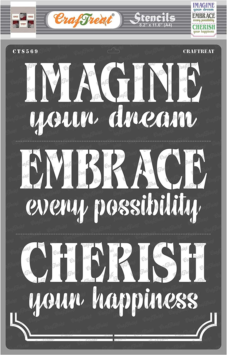 CrafTreat Quotes Stencils for Painting on Wood, Canvas, Paper, Fabric, Wall and Tile - Imagine Embrace Cherish - Size: A4 - Reusable DIY Art and Craft Stencils for Home Decor - Word Stencils Phrases