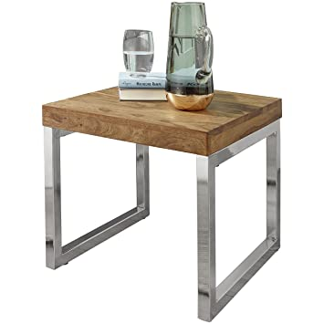 Wohnling Beistelltisch Massiv Holz Sheesham Wohnzimmer Tisch
