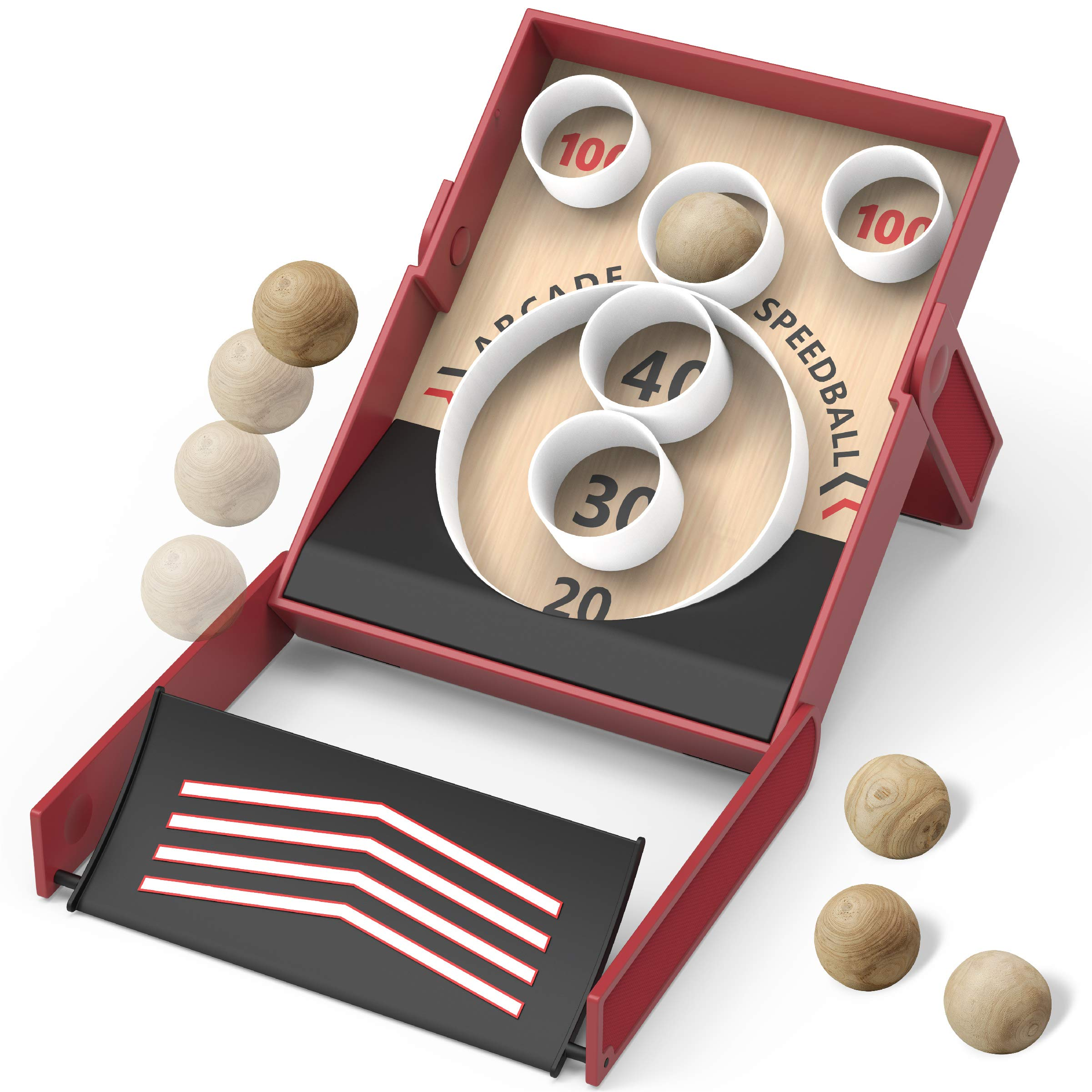 Sharper Image Collapsible Retro-Style Speedball Game, Indoor and Outdoor Arcade Toy, Roll The Ball and Hit The Target, Easy Setup, Includes Scorecards and 5 Wooden Balls, Fun Game for Kids and Adults by Sharper Image