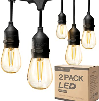 Addlon 2 Pack 48ft LED Outdoor String Lights