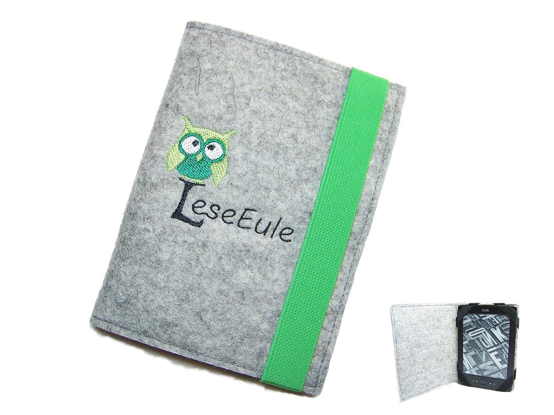 aufklappbare eBook Reader eReader Hülle LeseEule inkl. Stickerei Wollfilz Filz, Maßanfertigung z.B. für Kindle Paperwhite