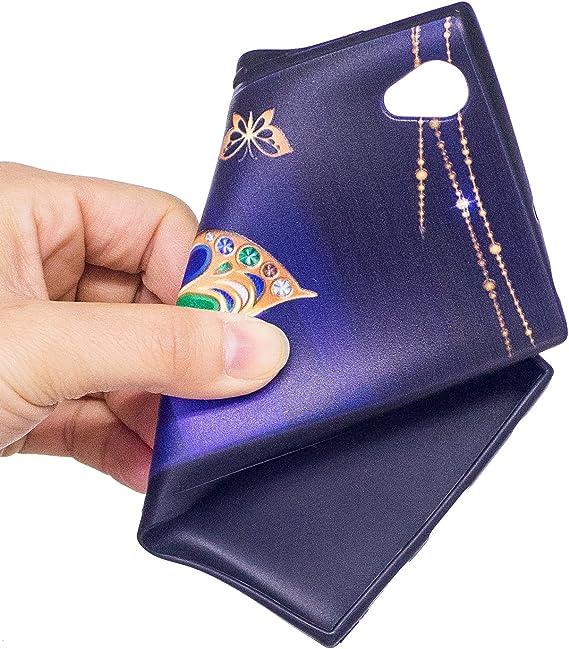 Felfy Compatible avec Sony Xperia L1/Coque Noir Silicone Peint Patron Case