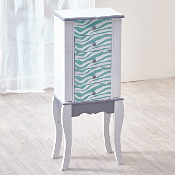 teamson meuble bijoux armoire bijoux prsentoir commode bijou bois bleu blanc
