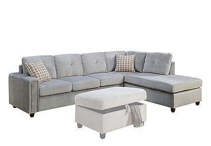 Amazon.com: ACME Belville Gray Velvet Reversible Sectional Sofa with ...