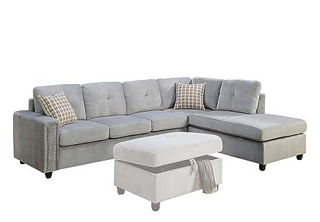 Amazon ACME Belville Gray Velvet Reversible Sectional Sofa