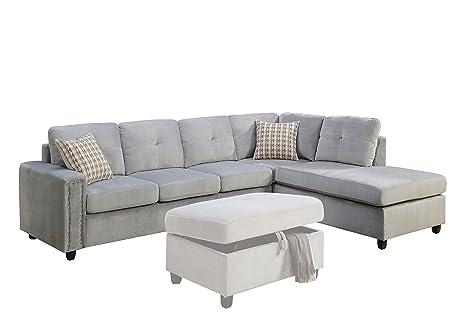 ACME Belville Gray Velvet Reversible Sectional Sofa with Pillows