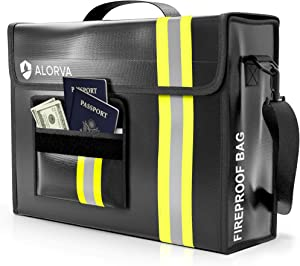 """ALORVA Fireproof and Waterproof Document Bag - 17 x 12 x 5"""" with Wallet Protector - Reflective to Find Fast at Night - Shield Important Documents & Valuables from Fire & Water - Firefighter Designed"""