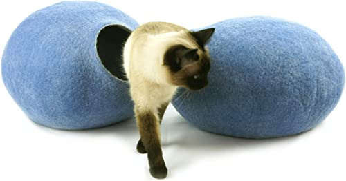 Kivikis Cat Bed, House, Cave, Nap Cocoon, Igloo, 100 Handmade from Sheep Wool Size Medium, M for 4-6 kg 9-13 pounds cat.