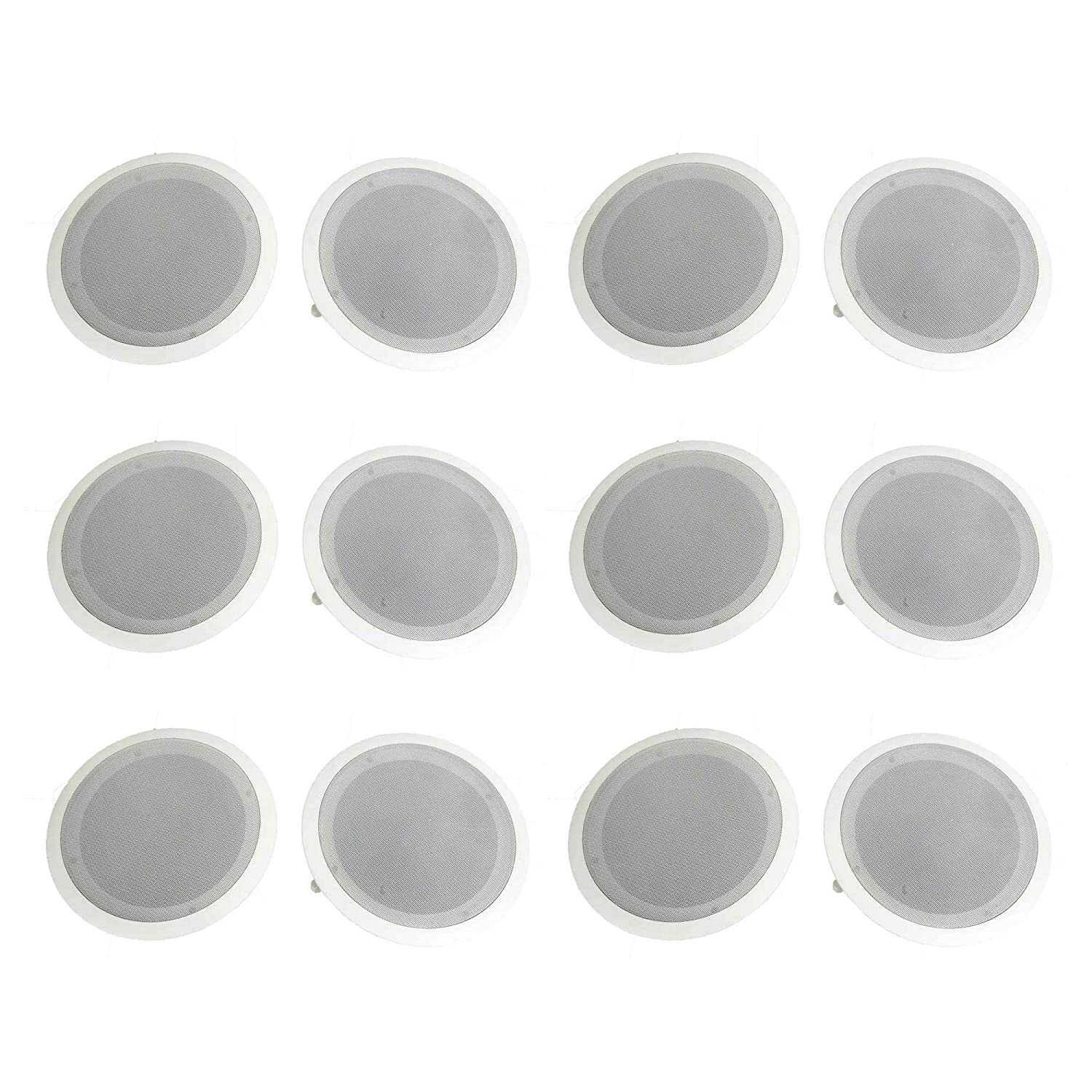 Pyle PDIC81RD 8-Inch Round In-Wall Speakers, 12 Pack
