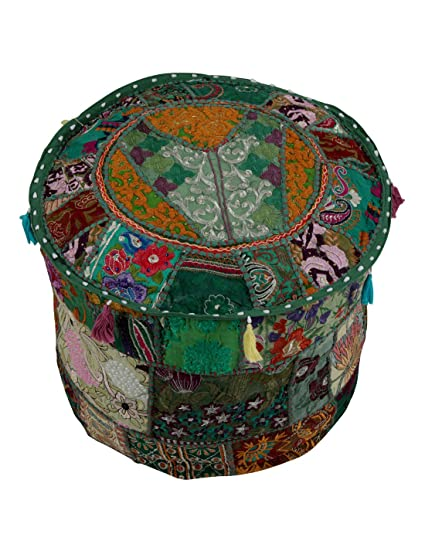 Astonishing Traditional Green Ottoman Cover Pouf Home Decorative Living Room Foot Stool Vintage Indian Ottomans Pouf Covers Handmade Patchwork Embroidered Floor Ncnpc Chair Design For Home Ncnpcorg