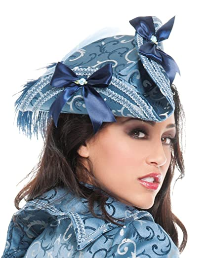 Women's Victorian Style Blue Floral Scroll Brocade Fabric Print Pirate Hat Embellished with Blue & White Feathers, Light Blue Braid Trim, and Navy Blue Satin Ribbon Bows Topped with Tiny Ribbon Rose Appliques by Roma Costume