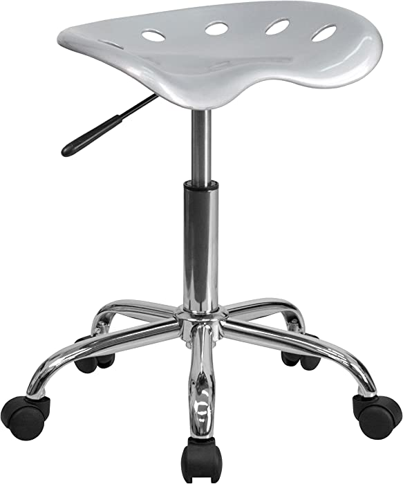 Flash Furniture Vibrant Silver Tractor Seat and Chrome Stool
