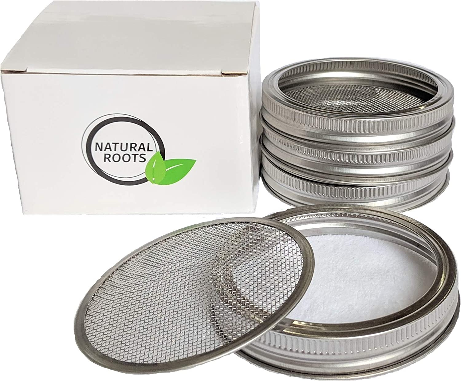 Sprouting Lids-4 Pack 316 Stainless Steel 100% Rust Free for Wide Mouth Mason Jars Lid Kit, Sprout Fresh Organic Broccoli Seeds, Mung Beans, Alfalfa Seed, Lentils, Radish and More (Seeds not included)