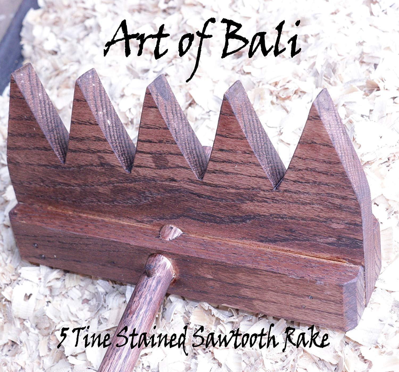 "Art of Bali 48"" 5 Tine Stained Saw Tooth Zen Garden Rake - Art of Bali Original"