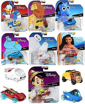 Hot Wheels Series 4 Cartoon Character Pack Car Disney Racers Bundled with Simba Lion King / Genie