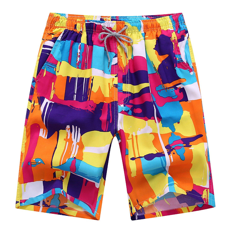 Justay Men's Printing Quick Dry Beach Shorts Swim Trunk,M(waist:30''-42'', hip:50.78''),Multicolored