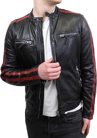 Lederjacke Ricon Herren Biker Jacke mit roten Streifen aus