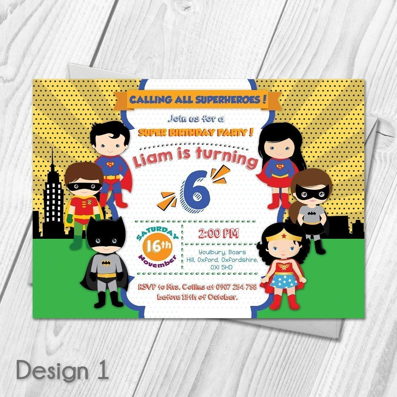 Personalised Superhero Boy Girl Birthday Party Invites /& Thank You Cards