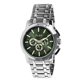 Mador MAM-556 - Reloj de cuarzo con correa de acero inoxidable para hombre, color plateado: Amazon.es: Relojes