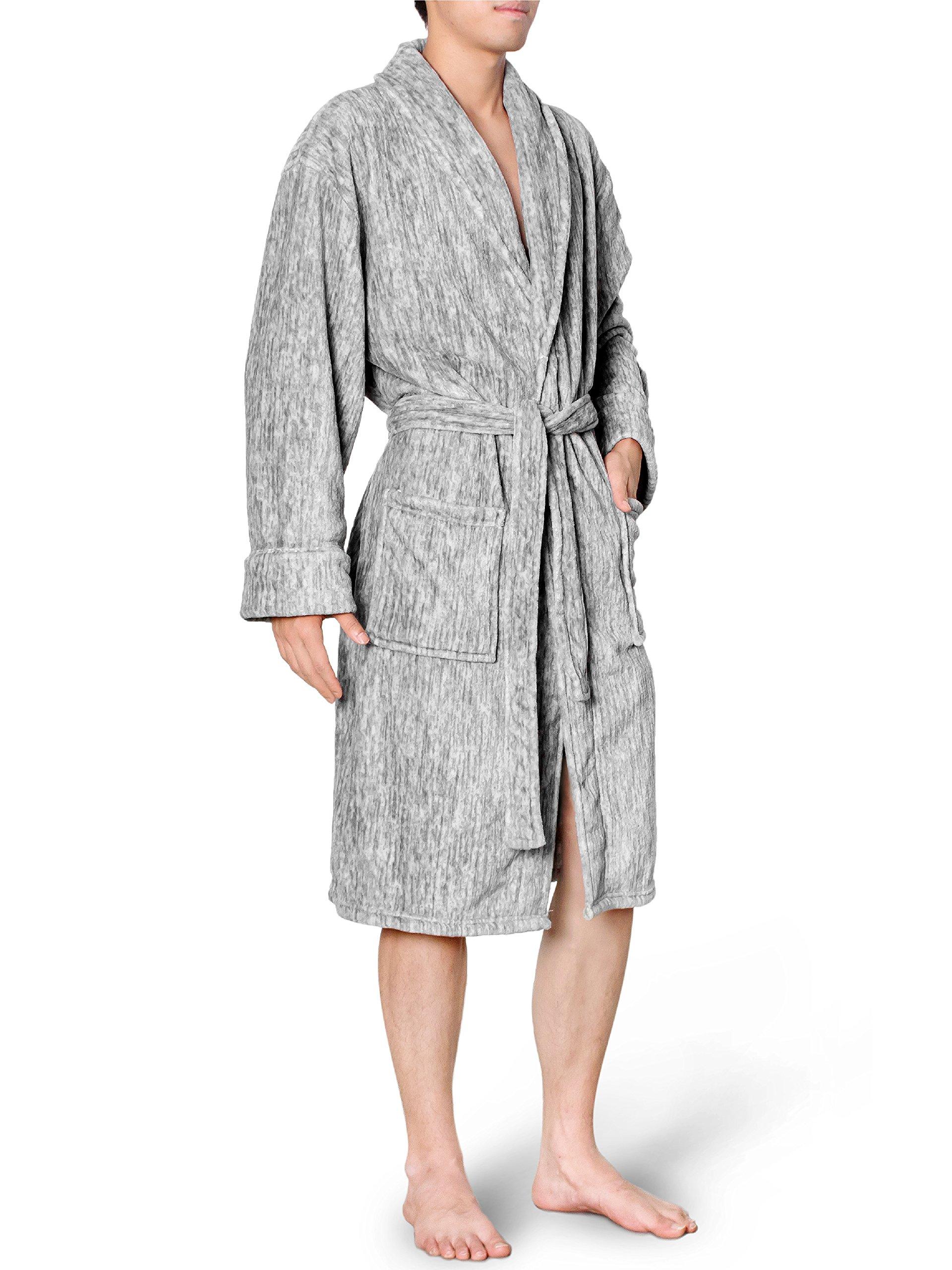 Premium Mens Fleece Robe | Soft Lightweight Bathrobe | Plush Warm Spa Robe