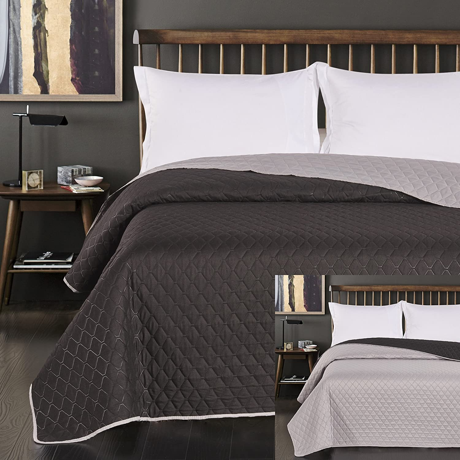 DecoKing Black steel silver, anthracite grey bedspread, two-sided quilting, Axel, Polyester, silver black, 170x270 cm 15155