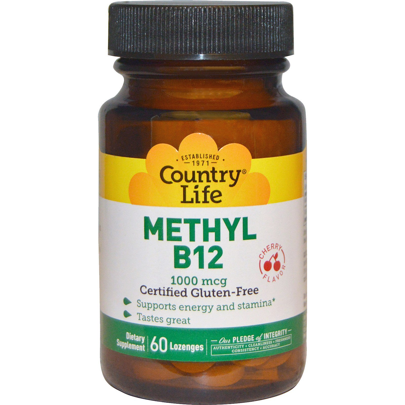 Country Life, Methyl B12, Cherry Flavor, 1000 mcg, 60 Lozenges