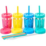 Toddler Cups/Kids Cups by JumpinJars! Kids Mason Jar Cups with Straw, Lids, Jackets, Straw Cleaners! Spill Proof Cups…