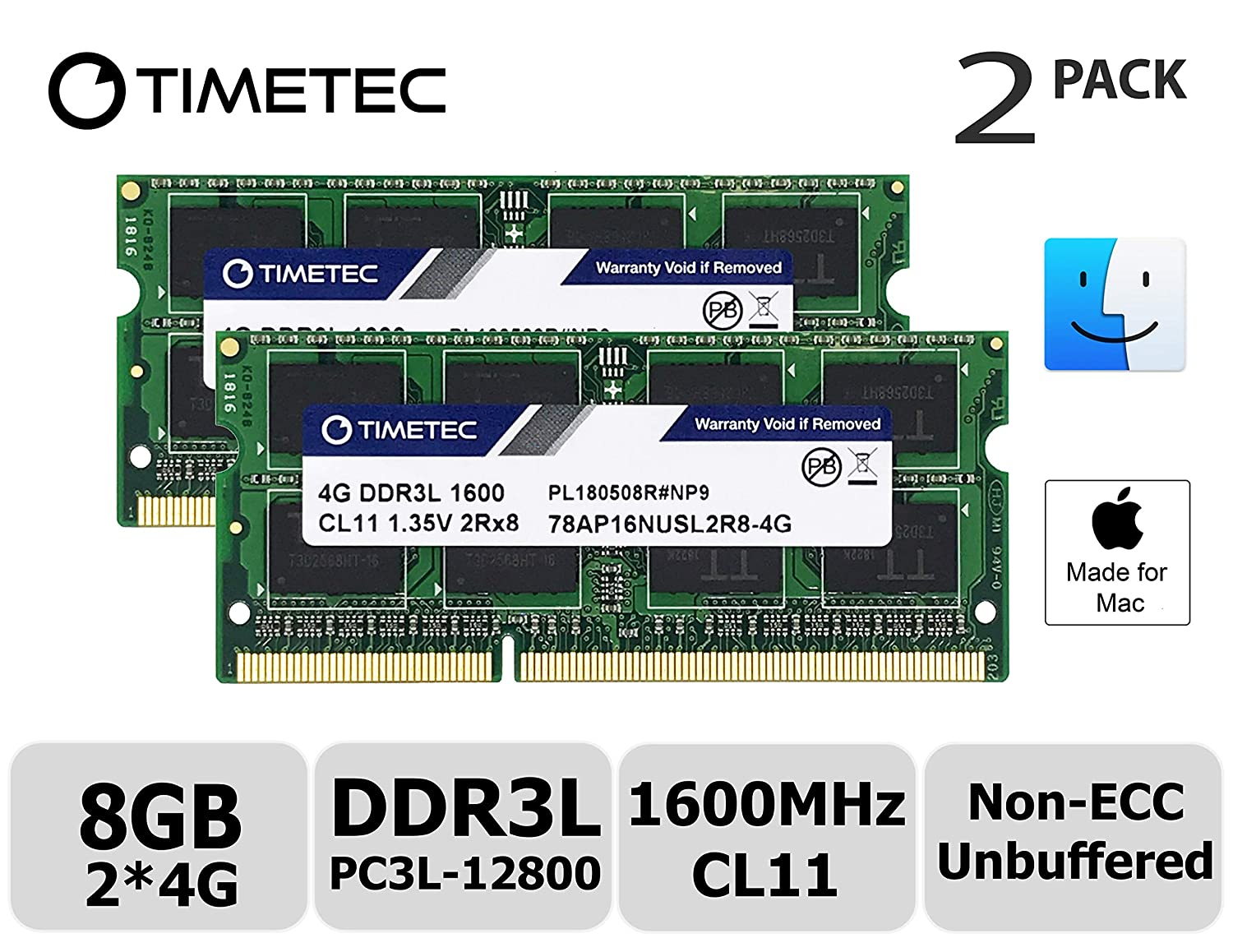 Low Density 8GB Kit 2x4GB 2x4GB DDR3L 1600MHz PC3L-12800 SODIMM Memory Upgrade For MacBook Pro 13-inch//15-inch Mid 2012 Timetec Hynix IC Apple 8GB Kit iMac 21.5-inch Late 2012//Early 2013