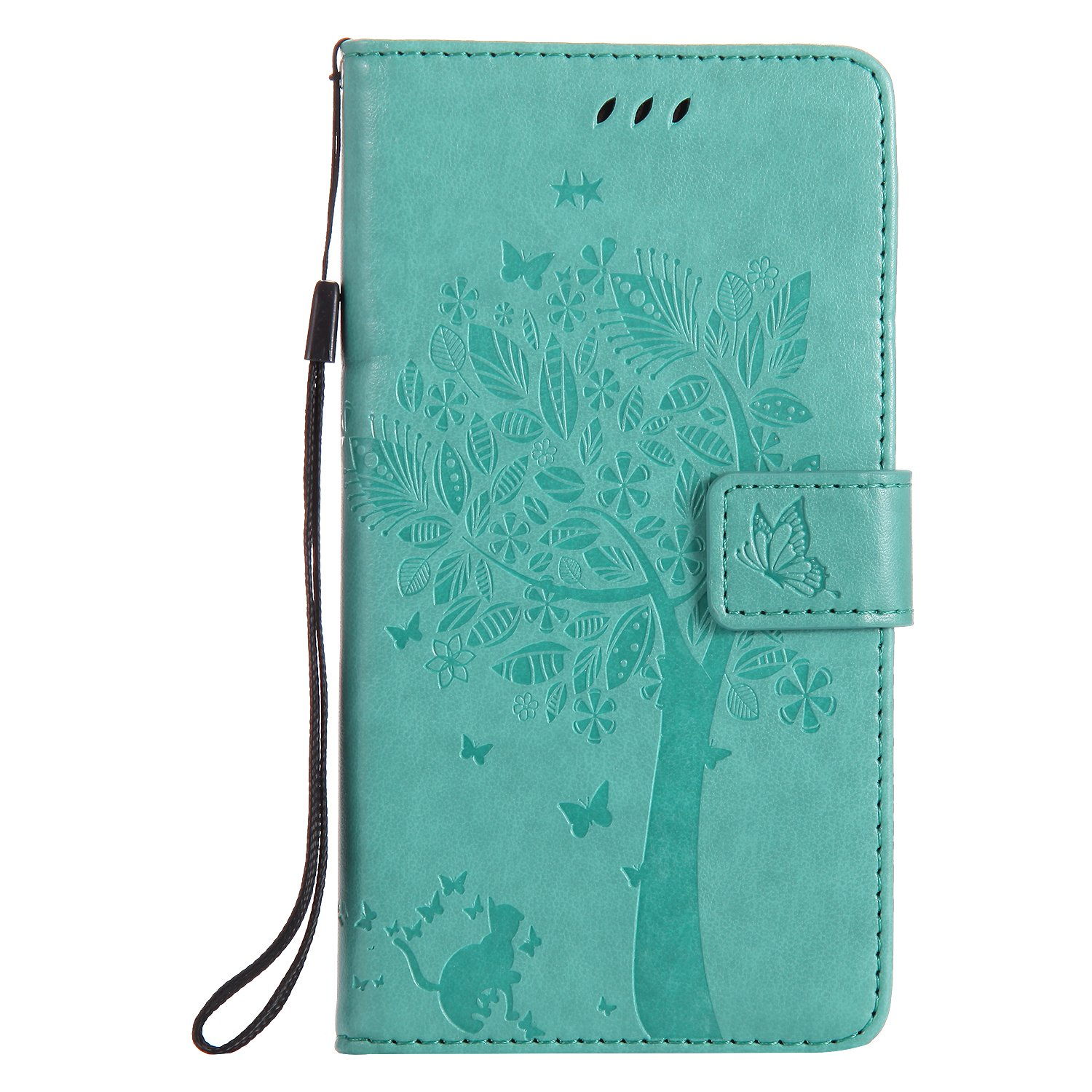 NOMO Moto Z Force Case,Moto Z Force Wallet Case,Moto Z Force Flip Case PU Leather Emboss Tree Cat Flowers Folio Magnetic Kickstand Cover with Card Slots for Motorola Moto Z Force Teal