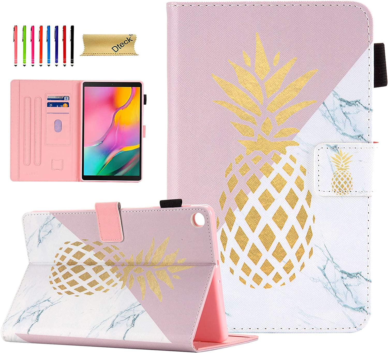 SM-T510 Case for Samsung Galaxy Tab A 10.1 2019 Case, Dteck Slim Fit Premium Leather Folio Stand Protective Magnetic Case with Card Slots for Samsung Tab A 10.1 inch SM-T510/T515, Marble Pineapple
