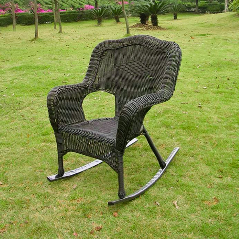 Amazon Wicker Resin Steel Patio Rocking Chair Antique Pecan