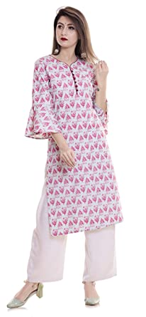 b0eb644a054 Women s Cotton Straight Kurti With Bell Sleeves - Pink  Amazon.in ...