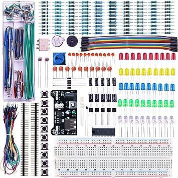 ELEGOO Kit Mejorado de Componentes Electrónicos con Módulo de Alimentación, Placa de Prototipos (Protoboard) de 830 Pines, Cables Puente, Potenciómetro, STM32, Raspberry Pi, Compatible con Arduino IDE: Amazon.es: Electrónica