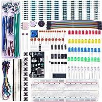 ELEGOO Kit Mejorado de Componentes Electrónicos con Módulo de Alimentación, Placa de Prototipos (Protoboard) de 830 Pines, Cables Puente, Potenciómetro, STM32, Raspberry Pi, Compatible con Arduino IDE