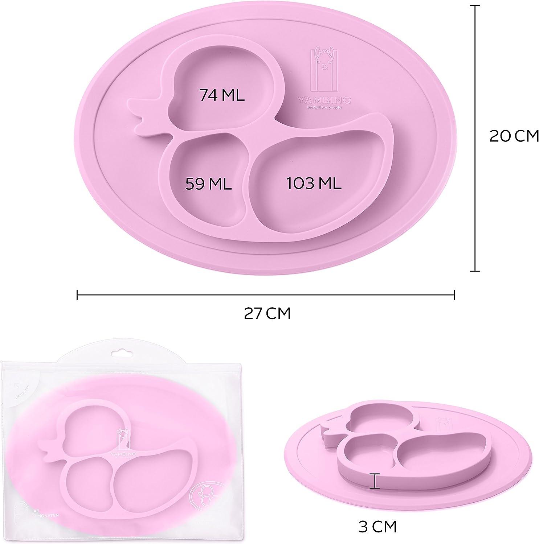 Assiette alimentaire s/ûre et test/ée assiette bebe set de table enfant assiette ventouse pour b/éb/é assiette compartiment Turquoise Assiette pour enfants 27x20x3cm sans BPA et antid/érapante
