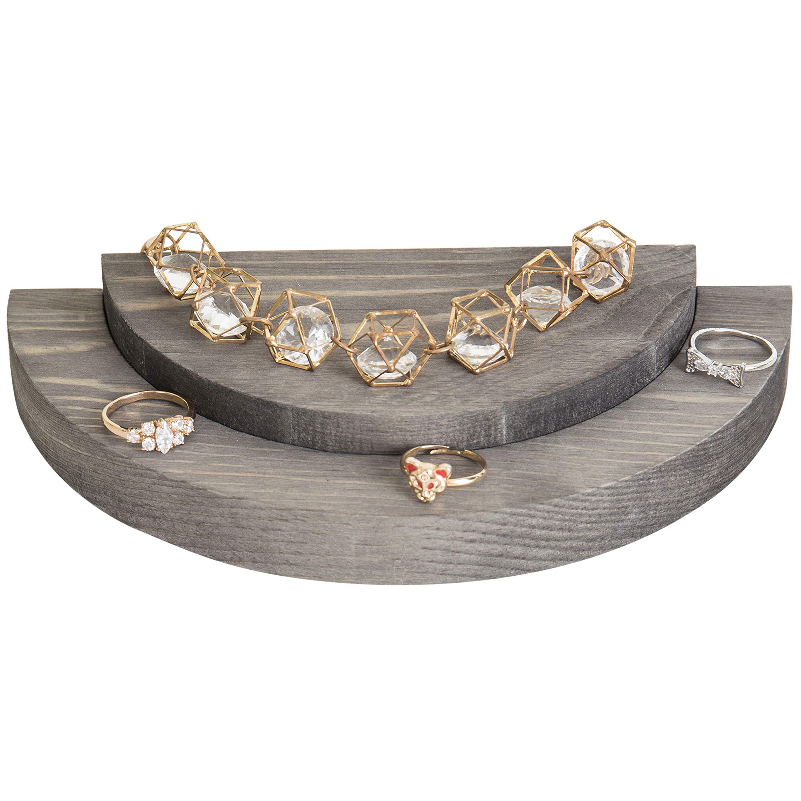 MyGift Rustic Gray Wood Semicircle Jewelry Display Board