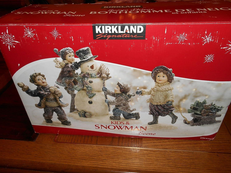 Kirkland Kids And Snowman Scene Christmas Decor Amazon Co Uk Kitchen Home