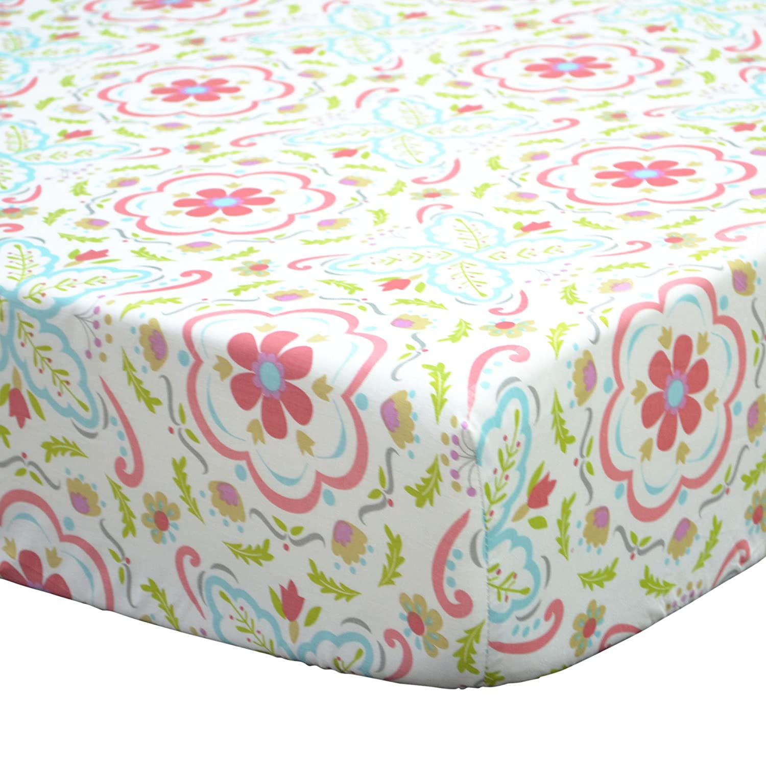 Gia Floral Fitted Crib Sheet - Coral Pink, Aqua, Green Damask - 100% Cotton